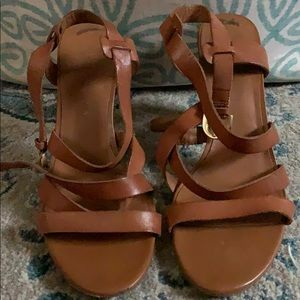 FRANCO SARTO STRAPPY LEATHER HEELS